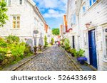 street with white wooden houses ... | Shutterstock . vector #526433698