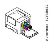 line style drawing of an office ...