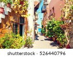 beautiful street in chania ... | Shutterstock . vector #526440796
