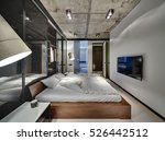 room in a loft style with white ... | Shutterstock . vector #526442512