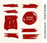 vector set of red brush strokes.... | Shutterstock .eps vector #526476088