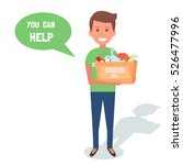 man volunteers with donation... | Shutterstock . vector #526477996