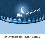 santa claus is flying in a... | Shutterstock .eps vector #526482832