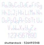thin line font. alphabet... | Shutterstock . vector #526493548