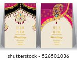 Indian wedding card, gold and crystals color. | Shutterstock vector #526501036