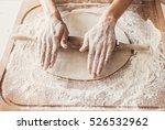 hands baking bread or pizza... | Shutterstock . vector #526532962