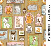 cute cats and dogs retro... | Shutterstock .eps vector #526548736