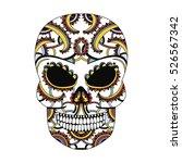 ornate skull style zentangl ... | Shutterstock . vector #526567342
