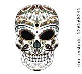 ornate skull style zentangl ... | Shutterstock . vector #526568245