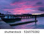 Red  Purple Sunset Fishing Boa...