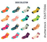 colorful socks big set in flat... | Shutterstock .eps vector #526573366