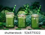 blended green smoothie with... | Shutterstock . vector #526575322