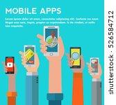 hands holding mobiles showing...   Shutterstock .eps vector #526584712