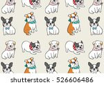 Stock vector vector illustration draw pattern background of cute pug dog bulldog doodle cartoon style 526606486