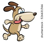 vector cartoon of a happy dog... | Shutterstock .eps vector #526631566