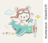 cute bear flying on a plane... | Shutterstock .eps vector #526640155