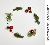 christmas round frame from... | Shutterstock . vector #526643845