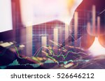 Stock photo double exposure business man analysis forex currency data on stock trade graph forex trade on 526646212