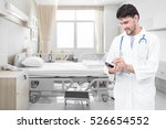 doctor writing medical records... | Shutterstock . vector #526654552