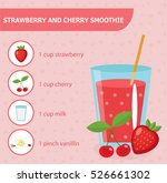 strawberry and cherry smoothie... | Shutterstock .eps vector #526661302