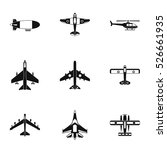 army planes icons set. simple... | Shutterstock .eps vector #526661935
