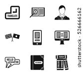 foreign language icons set.... | Shutterstock .eps vector #526666162