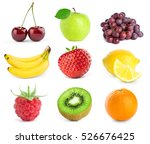 collection of fruits on white...   Shutterstock . vector #526676425