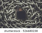 check lock and chain on wooden... | Shutterstock . vector #526680238