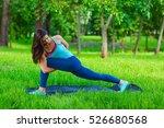yoga woman on green grass girl...   Shutterstock . vector #526680568