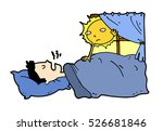 tired lazy man sleep in the bed ... | Shutterstock .eps vector #526681846