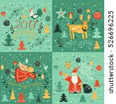 vector christmas card with ange ... | Shutterstock .eps vector #526696225