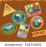 vintage luggage stickers vector ... | Shutterstock .eps vector #526714432