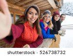 people group taking selfie...   Shutterstock . vector #526738732
