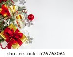 glasses of champagne and... | Shutterstock . vector #526763065