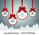 christmas paper card with red... | Shutterstock .eps vector #526765966