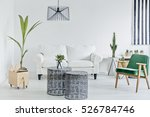 living room with green armchair ... | Shutterstock . vector #526784746