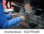 operator bending metal sheet by ... | Shutterstock . vector #526790185