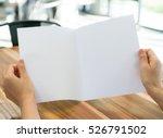 women hand hold bifold white... | Shutterstock . vector #526791502