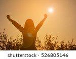 Silhouette Of Happy Women Open...