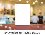 mock up menu frame on table in... | Shutterstock . vector #526810138