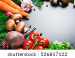 different raw vegetables and... | Shutterstock . vector #526817122