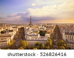 sunset eiffel tower and paris... | Shutterstock . vector #526826416