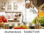 cook chef in kitchen with white ... | Shutterstock . vector #526827145