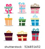 set of gifts boxes design flat. ... | Shutterstock .eps vector #526851652