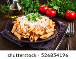 penne pasta dish with chicken ... | Shutterstock . vector #526854196