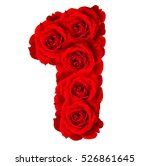 Stock photo red roses numbers made from bloom red rose isolated on white background 526861645