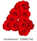 red roses numbers 4 made from... | Shutterstock . vector #526861762