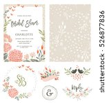 Stock vector rustic hand drawn bridal shower invitation with seamless background and floral design elements 526877836