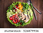 fresh salad plate with colorful ... | Shutterstock . vector #526879936
