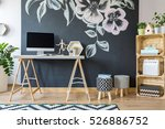 home workspace with diy regale... | Shutterstock . vector #526886752
